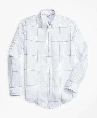 Brooks Brothers Regent Fit Large Windowpane Irish Linen Sport Shirt