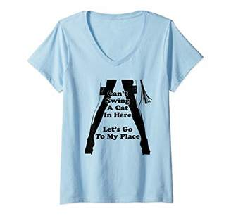 Womens Can't Swing A Cat In Here - Cat O Nine Tails BDSM V-Neck T-Shirt