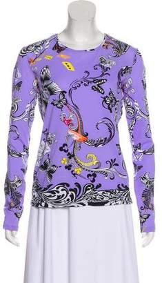 Versace Long Sleeve Printed Top