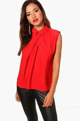 boohoo Sleeveless Chiffon Blouse