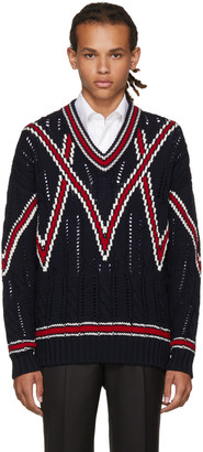 Brioni Navy Cable Knit V-Neck Sweater $1,250 thestylecure.com