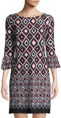 Gabby Skye 3/4-Bell-Sleeve Geometric-Print Crepe Shift Dress