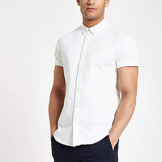 River Island Mens White short sleeve twill muscle fit shirt