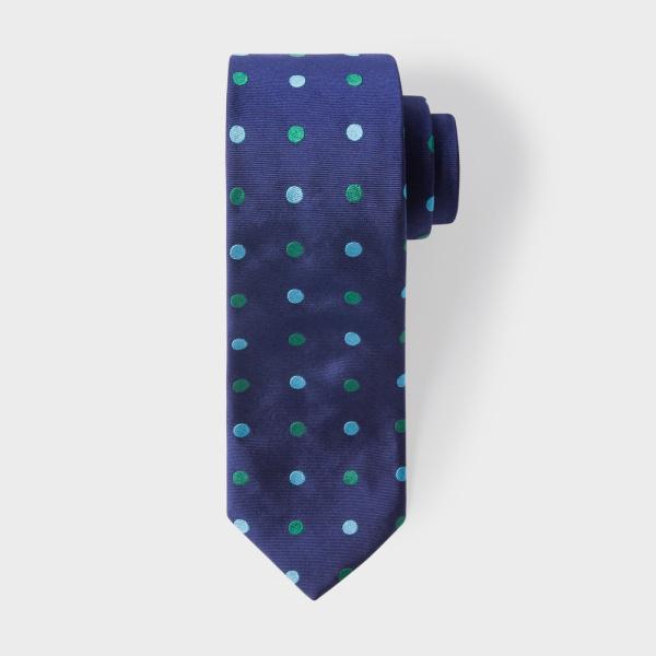 Paul SmithMen's Navy Narrow Silk Tie With Green And Sky Blue Polka Dots