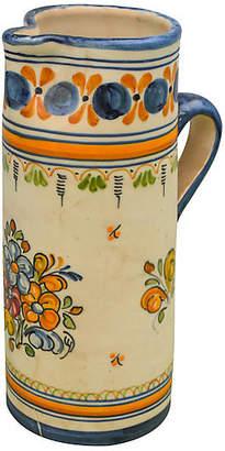 One Kings Lane Vintage Blue & Orange Moroccan Ceramic Pitcher