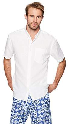 Isle Bay Linens Men's Standard Fit Short Sleeve Linen Cotton Button-Down Shirt XXX-Large