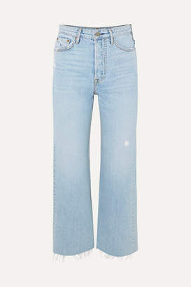 GRLFRND Bobbi Cropped Distressed High-rise Bootcut Jeans