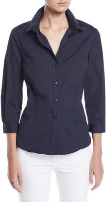 Carolina Herrera 3/4-Sleeve Button-Front Cotton Blouse