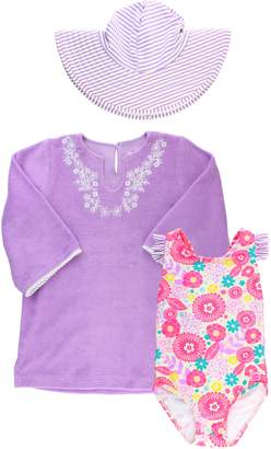 RuffleButts Sun Hat, Cover-Up Tunic & One-Piece Swimsuit Set