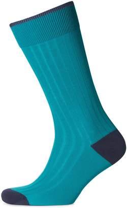 Charles Tyrwhitt Teal Cotton Rib Socks Size Large