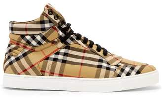 Burberry Vintage Check Cotton High Top Trainers - Mens - Multi