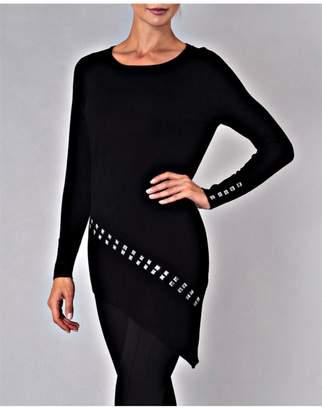 Elena Wang Studded Black Sweater