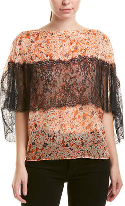 The Kooples Lace-Trim Silk Top