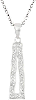 FINE JEWELRY Womens 3/4 CT. T.W. White Cubic Zirconia Sterling Silver Triangle Pendant Necklace