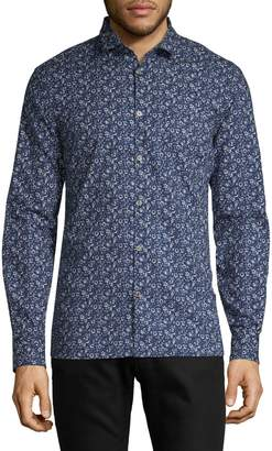 John Varvatos Macro Floral-Print Long-Sleeve Shirt