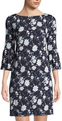 Neiman Marcus Floral-Print Bell-Sleeve Jersey Dress, Black/Blue