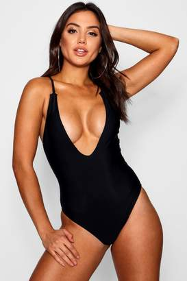 c27c3b492e Black Plunge Back Swimsuit - ShopStyle UK