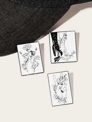 Shein Hand & Flower Print Brooch Set 3pack