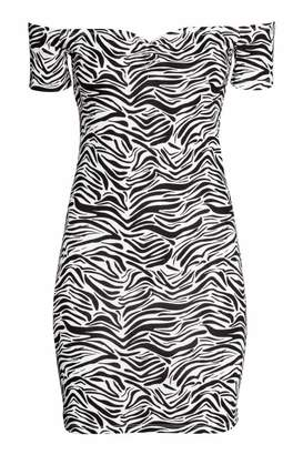 H&M Off-the-shoulder Dress - Zebra print - Women