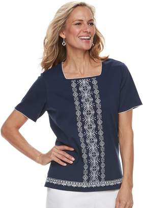 Alfred Dunner Petite Studio Embroidered Top