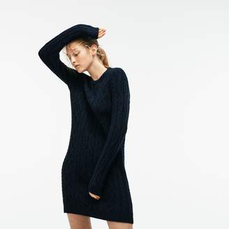 c9719e5dcef Lacoste Women s Alpaga And Wool Cable Knit Sweater Dress