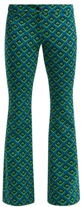 Diane von Furstenberg Kick Flare Jacquard Trousers - Womens - Green Multi