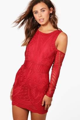boohoo Petite Lace Fringe Cold Shoulder Bodycon Dress