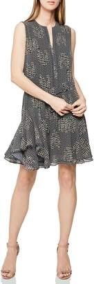 Reiss Stefania Keyhole Neck Ruffle Detail Sleeveless Dress