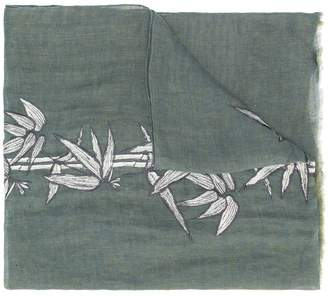 Etro embroidered leaves scarf