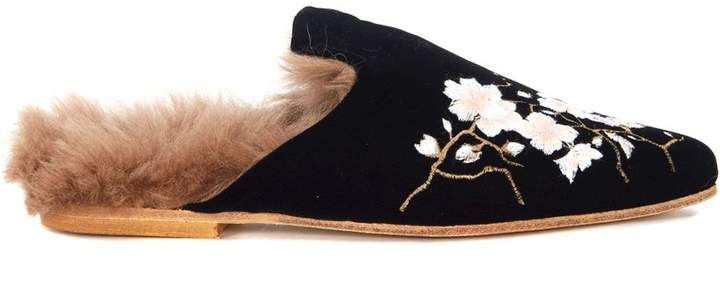 Gia Couture La Francy Black Velvet Sabot With Floral Embroidery