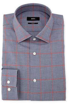 BOSS Slim-Fit Windowpane Dress Shirt