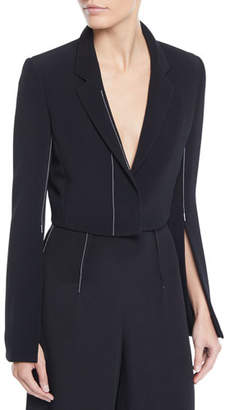 Cushnie et Ochs Cropped Flare-Sleeve Stretch-Cady Jacket w/ Topstitching