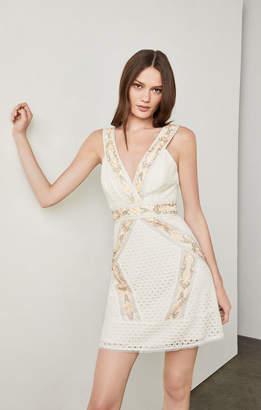 BCBGMAXAZRIA Fauve Geometric Lace Dress