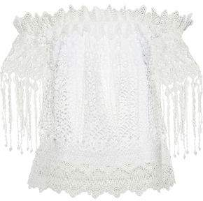 Elie Tahari Clarissa Off-The-Shoulder Faux Pearl-Embellished Guipure Lace Top