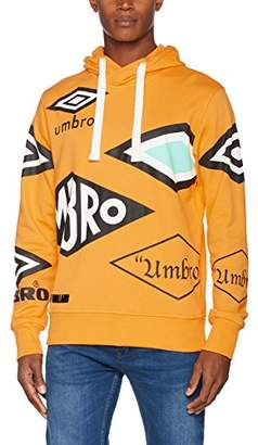 House of Holland Men's Umbro Multi Logo Hoodie Casual Shirt, Orange, Medium