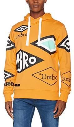 House of Holland Men's Umbro Multi Logo Hoodie Casual Shirt, Orange, Large