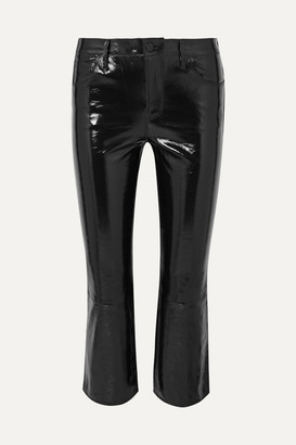 J Brand Selena Cropped Glossed-leather Bootcut Pants - Black