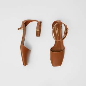 Burberry Monogram Motif Leather Kitten-heel Sandals