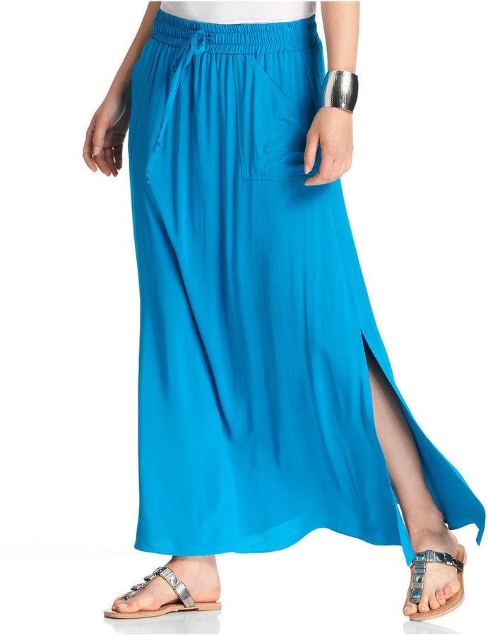 Amy Byer Skirt, Solid Elastic Waist Maxi