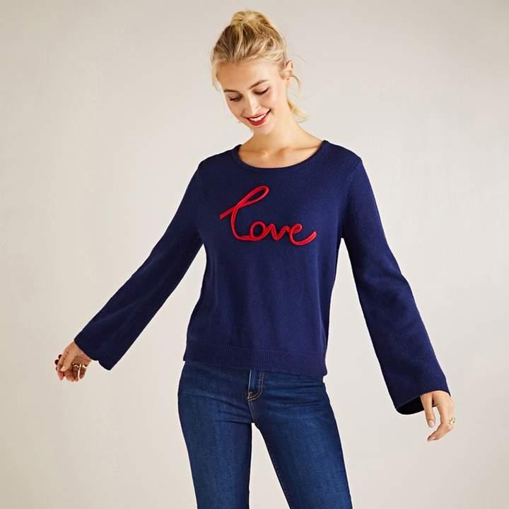 Navy Love Slogan Jumper