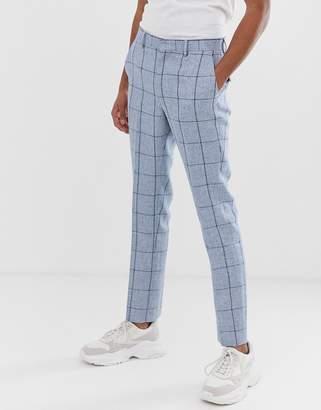 Asos Design DESIGN wedding skinny suit pants in blue check in linen mix