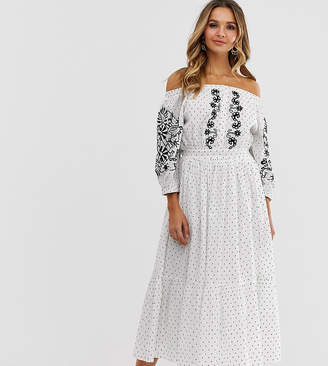 Bardot Violet Skye embroidered button through midaxi dress with balloon sleeves in polka print