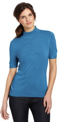 Sag Harbor Women's Mock Short Sleeve Cashmerlon Sweater