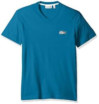 Lacoste Men's V-Neck T-Shirt with Contrast Applique Croc