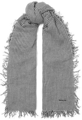 Chan Luu Gingham Cashmere And Silk-blend Scarf - Black