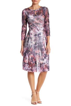 KOMAROV 3/4 Sleeve Printed Keyhole Dress (Petite) $278 thestylecure.com