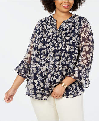 Charter Club Plus Size Printed Tiered-Ruffle Top