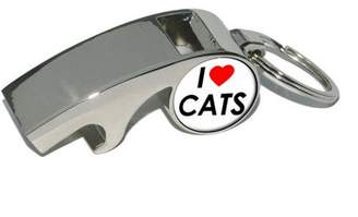 Generic I Love Heart Cats, Plated Metal Whistle Bottle Opener Keychain Key Ring