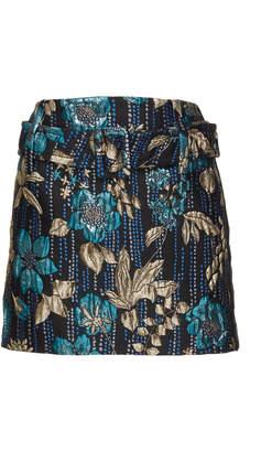 Prada Belted Metallic Floral Brocade Mini Skirt