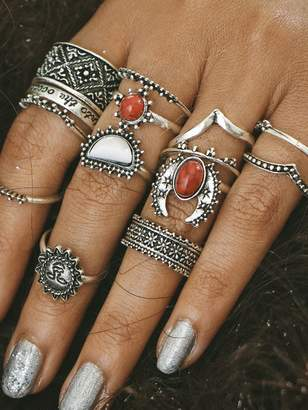 Shein Red And White Turquoise Stone Vintage Rings Set